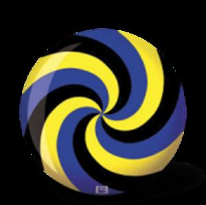 """SPIRÁL sárga-kék-fekete """"SPIRAL"""" golyó képe"""